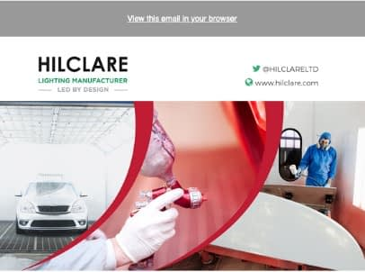 Hilclare lighting Spraybooth email