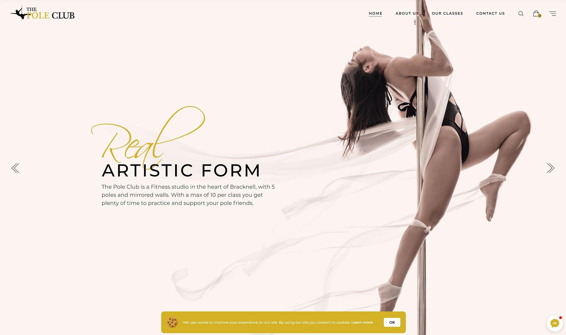 The Pole Club website design & development